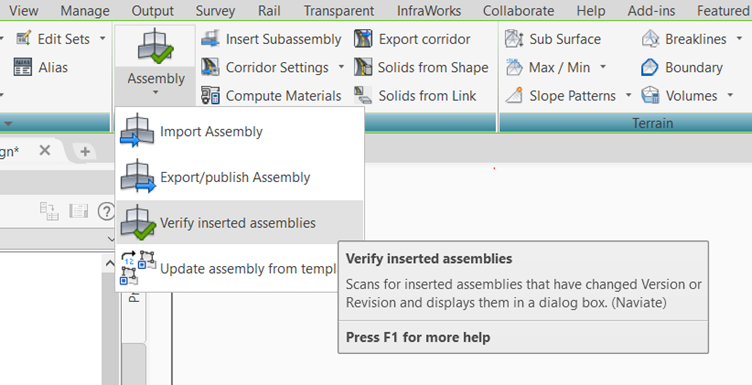 21 APR Control your corridors with Naviate Infrastructure publish assembly verify insertet assemblies