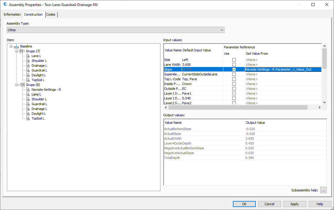 21 Superelevation with Naviate for Civil 3D -Settings subassembly - Assembly Properties Parameter Preference