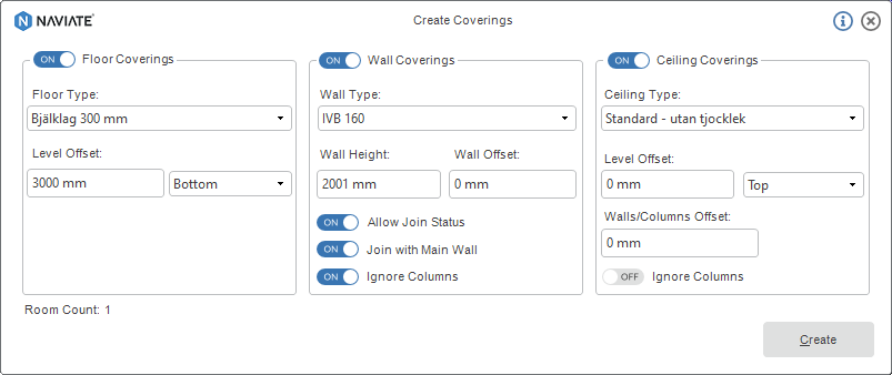 21 OCT Create Coverings with Naviate Architecture for Revit menu